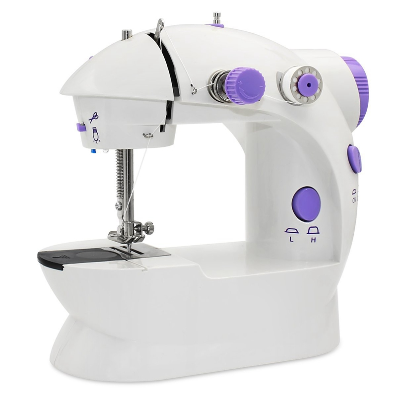 FashionMini Sewing Machine, AU Plug Portable Electric Sewing Machine with Lamp and Thread Cutter, High & Low Speeds, Battery or