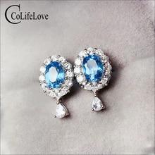 CoLife Jewelry 925 Silver Topaz Earrings 6*8mm Natural Topaz Stud Earrings for Daily Wear Fashion Gemstone Stud Earrings