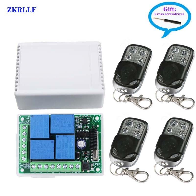 LED di controllo della luce, elettrico porte e finestre, porta del garage di controllo remoto interruttore 433MHz DC 12V 4 canali telecomando universale di controllo