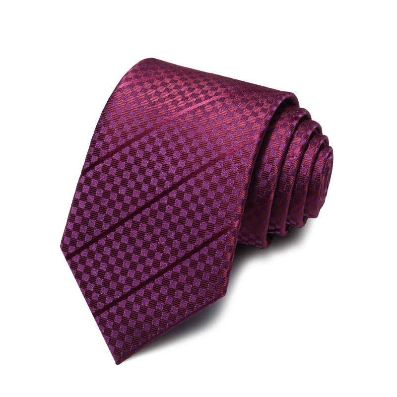 2021 Brand New Fashion High Quality Men 7CM Dark Plaid Wine Red Necktie Wedding Formal Suit Party Neck Tie for Male Gift Box