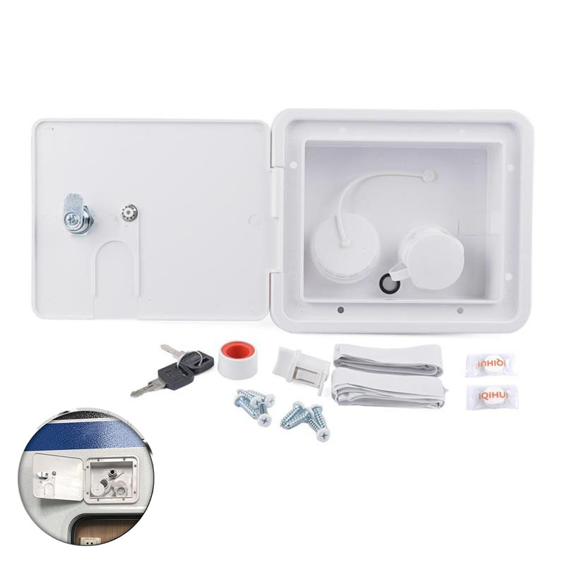 White Gravity City Water Inlet Integrated Fill Dish Hatch Lock For RV Trailer Camper Car Back Of 1/2