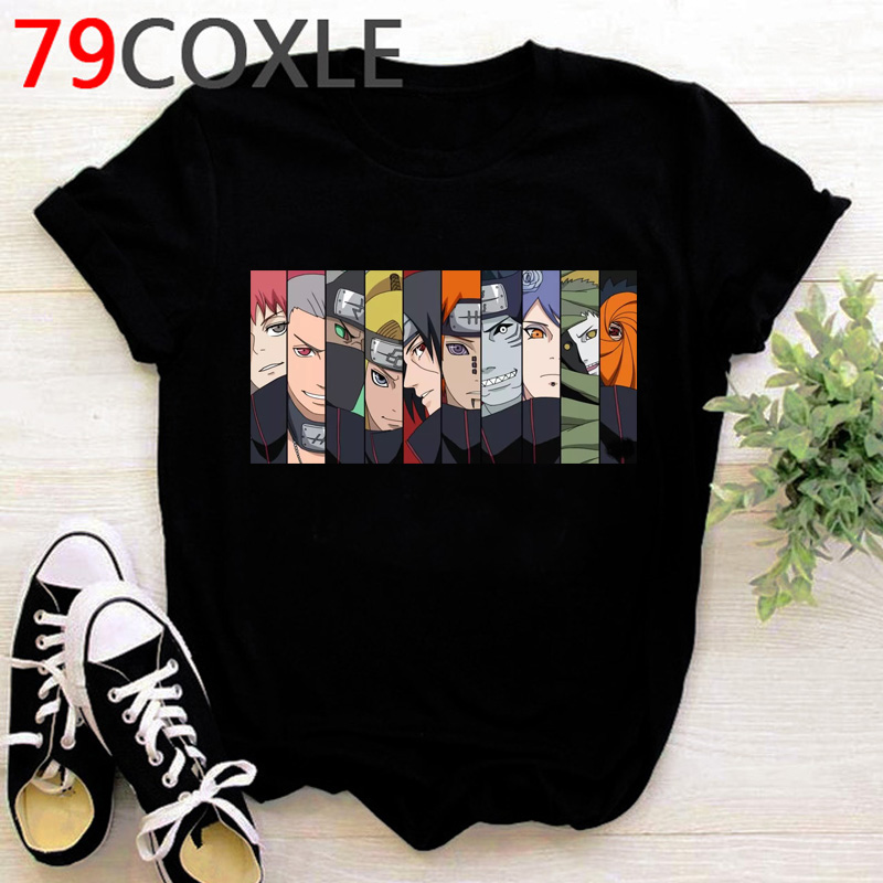 Japanese Anime Naruto Akatsuki TShirt Men Kawaii Cartoon Sasuke Graphic T Shirts Harajuku Funny Casual Oversized T-shirt Male