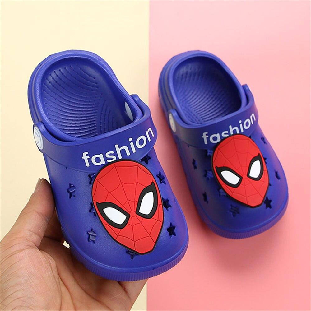 Girls Sandals Baby Garden Shoes Non-slip Casual Boys Slippers Cartoon Unicorn Rainbow/Spiderman Kids Shoes Home Girls Slippers