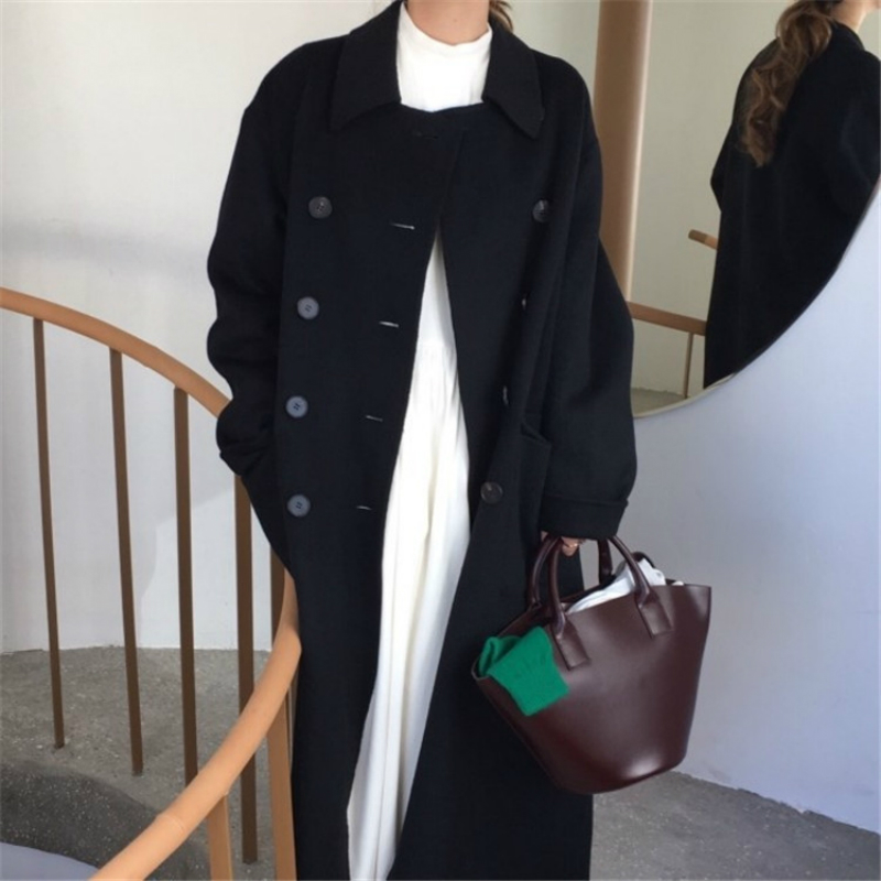 Invierno 2019 nueva moda coreana Casual de gama alta de talla grande suelta doble botonadura negro larga chaqueta de lana caliente de las mujeres - 6