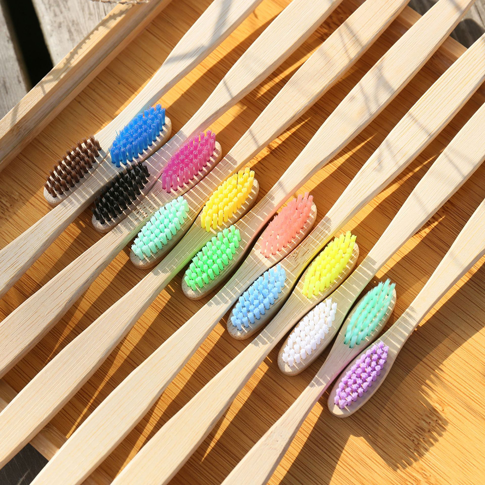 Morden Design Mixed Color Bamboo Toothbrush Eco Friendly Wooden Tooth Brush Soft Bristle Charcoal Adults Oral Care Toothbrush image