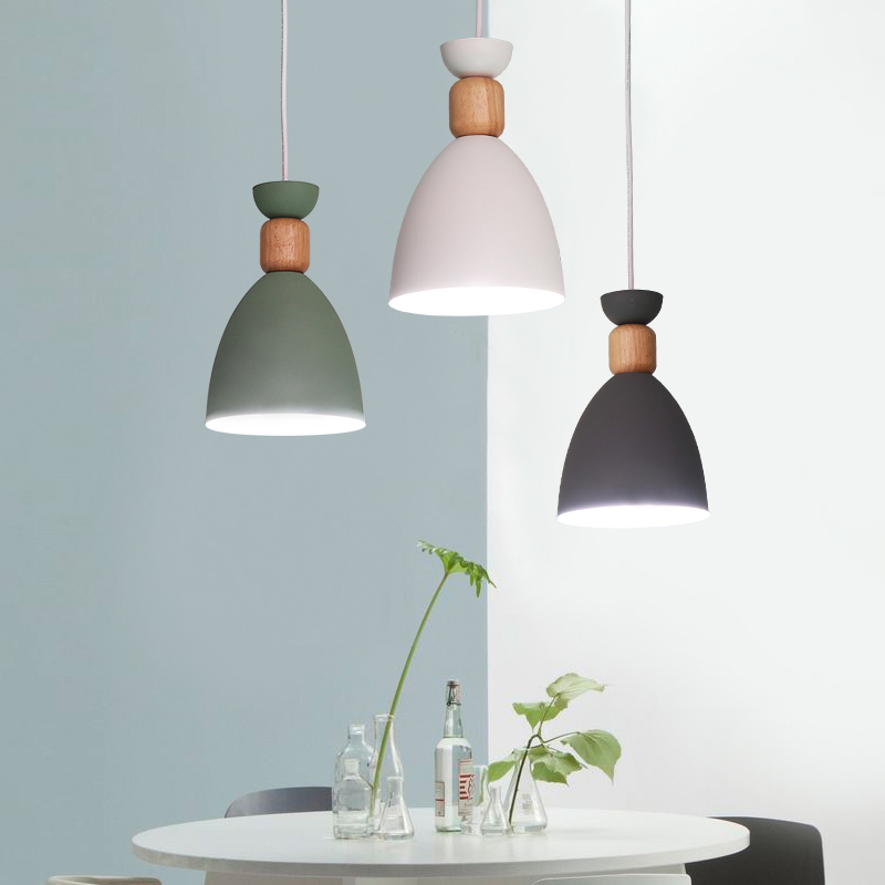 Nordic Style Dining Room Pendent Lamp Simple Modern Colourful Creative Living Room Bedroom Pendent Lights E27 LED Bulb Lighting