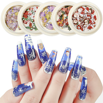 1 Box 50 Pcs Creative and Stylish Christmas Nail Decoration Applique Snowman Candy Christmas Tree 3D Nail Design Art Charm