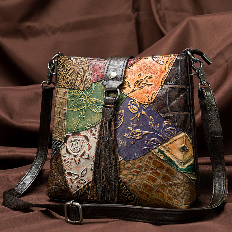 MAHEU Fashionable Women Shoulder Bag Ethnic Style Genuine Leather Crossbody Bags Of Female Ladies Patchwork Leather Sling Bag