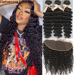 Rebecca Brazilian Deep Wave Human Hair Bundles With Lace Frontal Closure Non Remy Human Hair 3 Bundles With 13x4 Lace Closure