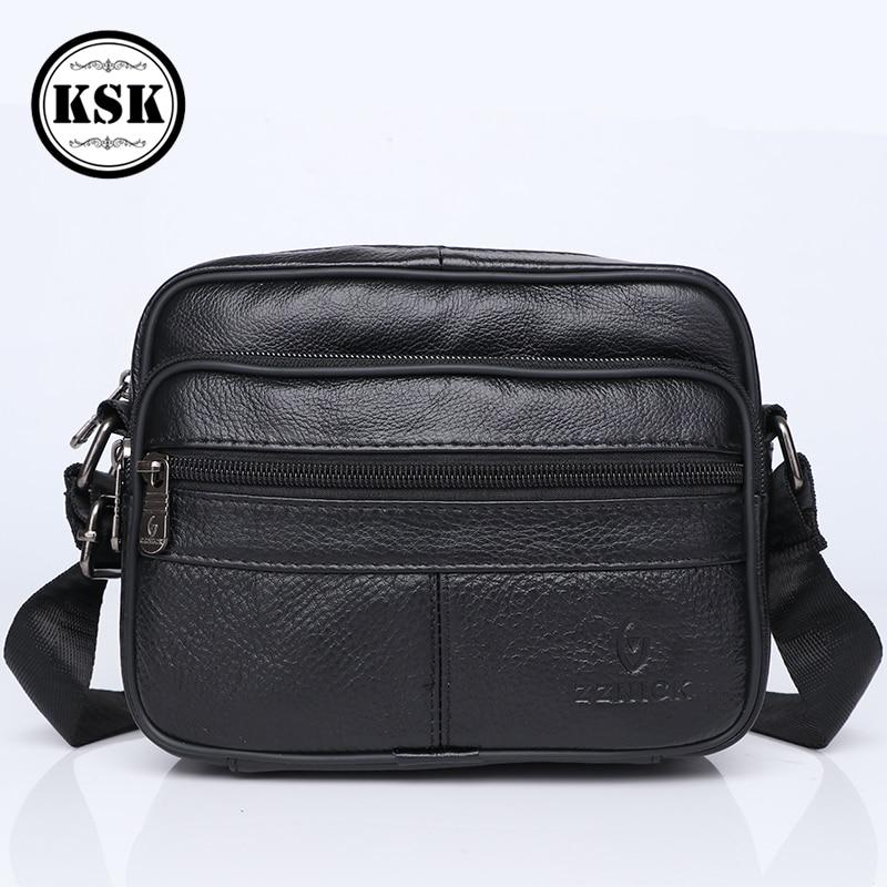 Men's Genuine Leather Bag Small Shoulder Bag Men Messenger Bags 2019 New Fashion Male Crossbody Flap Luxury Sling Bags KSK
