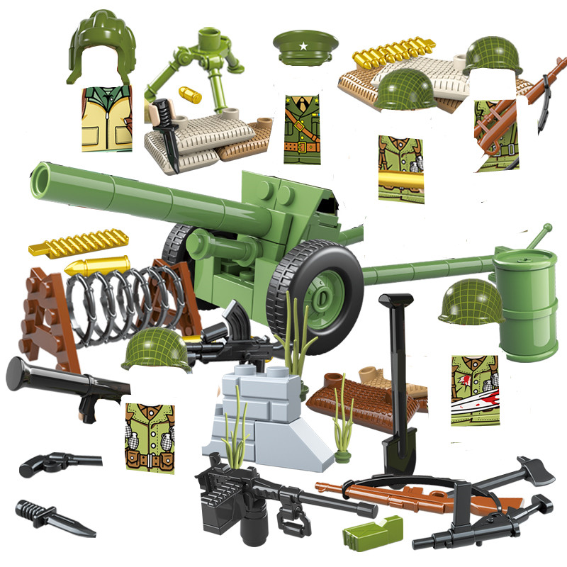 6pcs US Army MILITARY WW2 Gun Weapon SWAT CS Soldier DIY Special Forces Building Blocks Figures Learning Toys Boy Children Gift