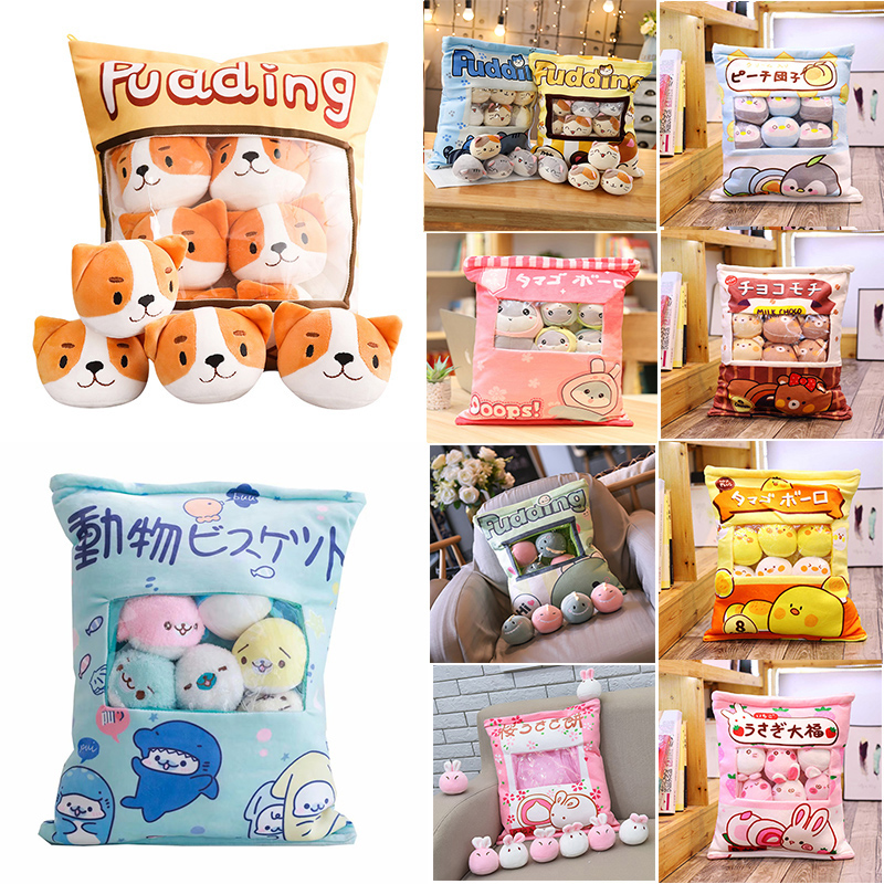 A Plushie Bag Pudding Toys Mini Animals Doll Sakura Bunny Hamster Penguin Bear Chick Strawberry Dog Cat Pig  Pillow Gift