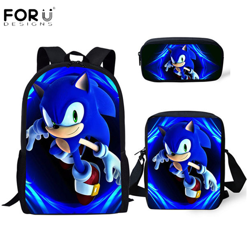 FORUDESIGNS New Arrival Cartoon Sonic Printing Boys Girls School Backpack School Bag Children Mochilas Escolares Bolsa Freeship