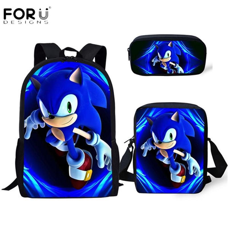 FORUDESIGNS New Arrival Cartoon Sonic Printing Boys Girls School Backpack School Bag Children Mochilas Escolares Bolsa Freeship