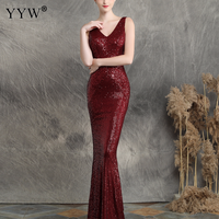 Red Sequins Evening Long Party Dress Women V Neck Sleeveless Mermaid Dress Fashion 2019 Sexy Robe De Soiree Elegant Formal Gowns