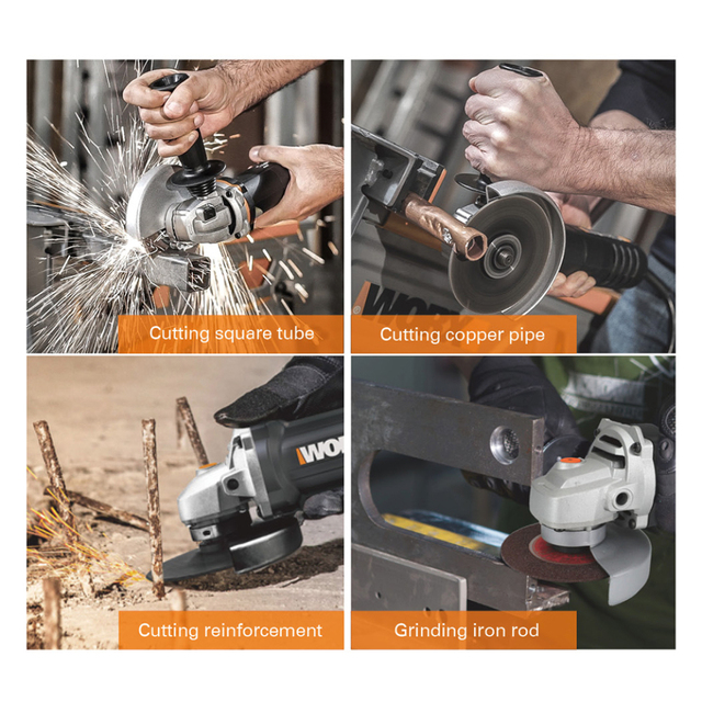 Worx Electric Angle Grinder Tools WX712 860W Grinding Machine 125mm Variable speed Power Tools Anti-vibration Auxiliary handhled 2