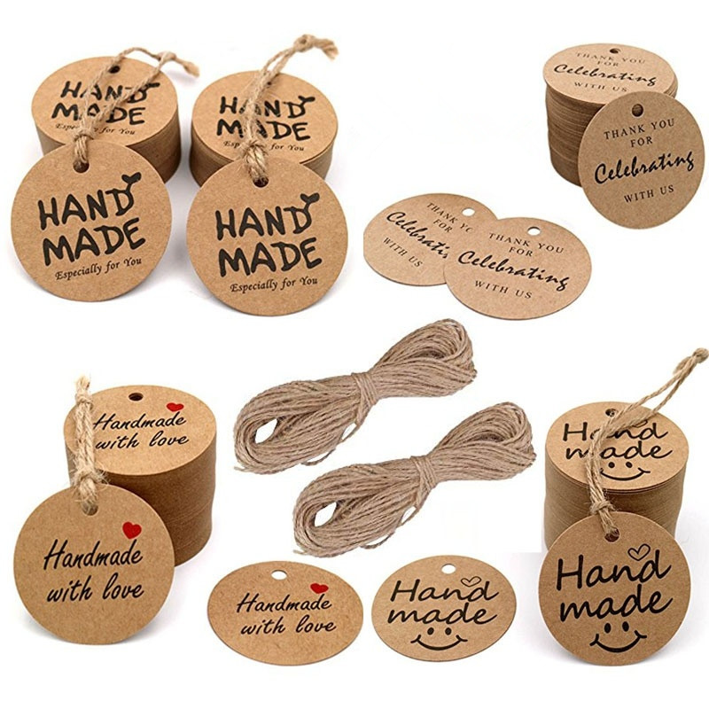 100Pcs Kraft Paper Gift Tags Thank You For Celebrating With Us Labels Handmade For Wedding Party Decoration Packaging Hang Paper