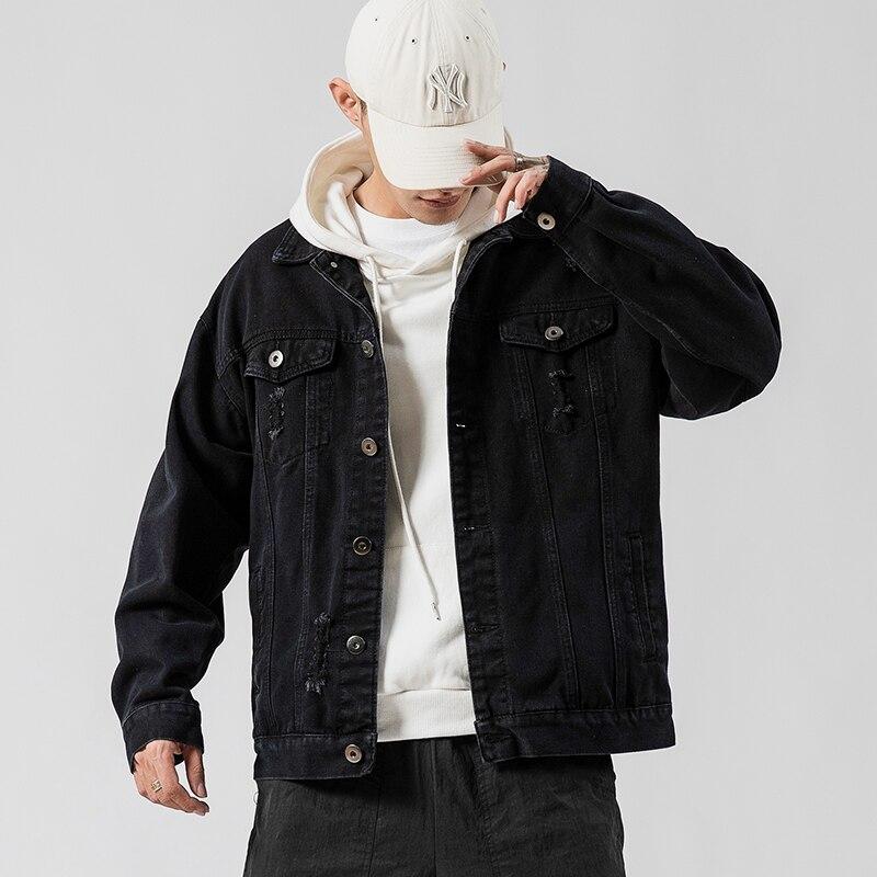 Spring And Autumn Hole Denim Jacket Men's Denim Jacket Jacket Men's Plus Size Casual Jacket Cotton Blue Black Plus Size 5XL