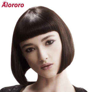 Short Wigs Cosplay Alororo Black Synthetic Women Bangs with for 10-Inches Bob Fake-Wig