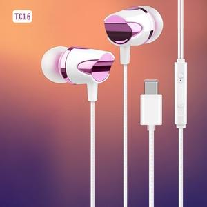 Image 1 - TC 16 유선 USB 타입 C 이어폰 소프트 실리콘 이어 버드 서브 우퍼 마이크 음악 헤드셋 삼성 S20 Ultral Xiaomi 화웨이
