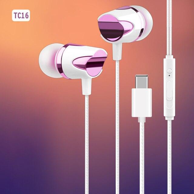 TC 16 유선 USB 타입 C 이어폰 소프트 실리콘 이어 버드 서브 우퍼 마이크 음악 헤드셋 삼성 S20 Ultral Xiaomi 화웨이