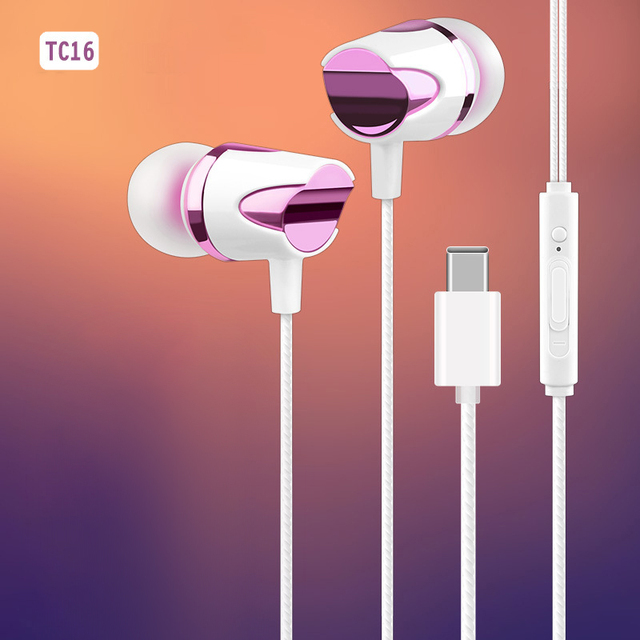TC 16 Wired USB Type C In Ear Earphone Soft Silicone Earbuds Subwoofer Mic Music Headset For Samsung S20 Ultral Xiaomi Huawei