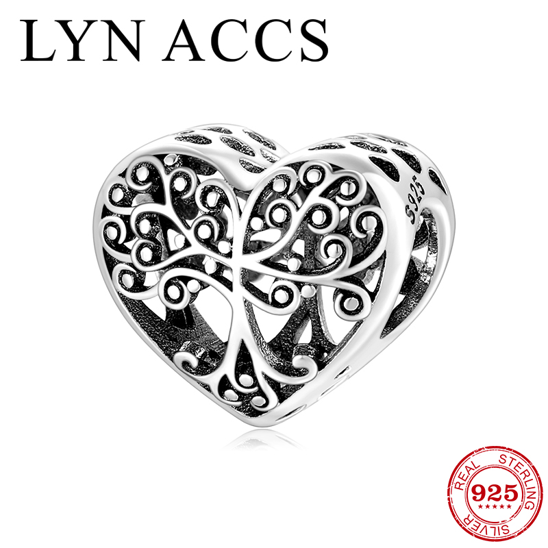 New Arrival 925 Sterling Silver Hollow Heart Family Tree Charm Beads Fit Original Pandora DIY Charms Bracelets Jewelry Making
