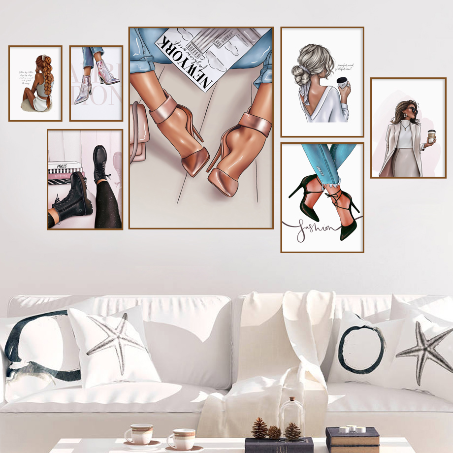 Fashion Girl Coffee High Heels Illustration Art Canvas Painting Nordic Posters And Prints Wall Pictures For Living Room Decor