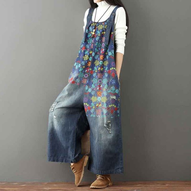 Helisopus Hot Vintage Printed Holes Ripped Jean Jumpsuit Plus Size Wide Legs Bib Overalls For Women Drop Crotch Denim Rompers