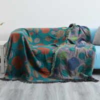Manta de punto de hilo de algodón con borla, informal, étnicos bohemios, manta, funda de sofá, tapiz de pared para cama