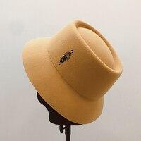 Japanese Concave Top Woolen Women's Retro Fashion Hat Elegant Lilliputian Pattern Basin Hat Femme Fisherman Hat Felt Hat Women