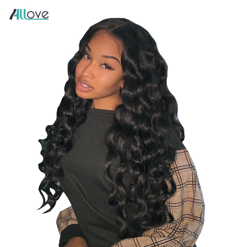 Allove Lace Front Human Hair Wigs Loose Wave Wig For Black Women Natural Color Brazilian 13x4