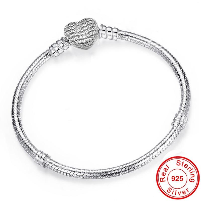 Big Sale Fine DIY Bracelet Bangle for women Original 100% 925 Sterling Silver Heart Clasp Snake Chain Fit Bead Bracelet Jewelry