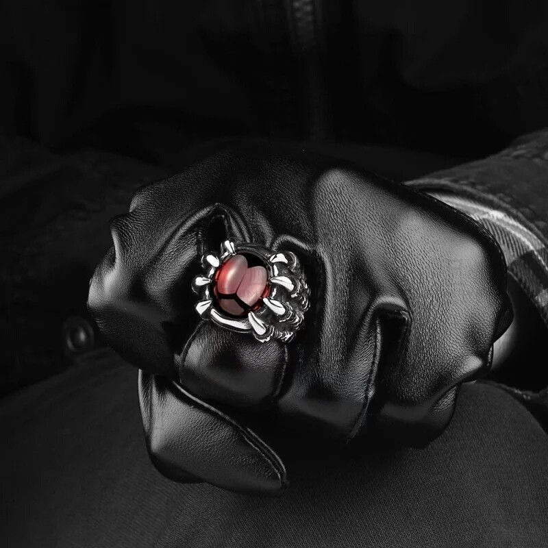 Men Hiphop Ring Retro Titanium Steel Black/Red Stone Rings for Women Men Gothic Fashion Jewelry Size 8-11 anillo hombre 4