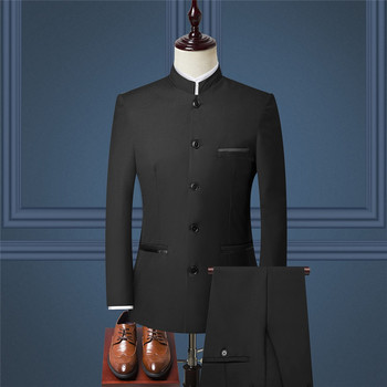 Chinese style mens 2-piece suit ( Blazer + pants) autumn new retro jacket and trousers Blue black wine red 4xl