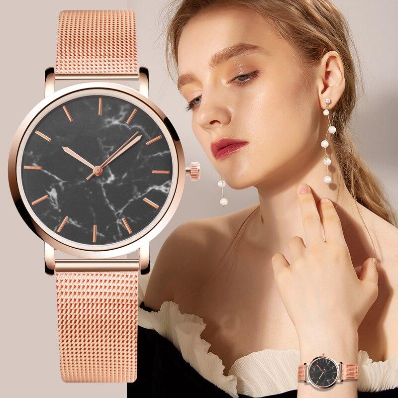 Fashion Women's Watches Luxury Women Marble Quartz Wristwatch Rose Gold Stainless Steel Ladies Watch Women Watch Reloj Mujer