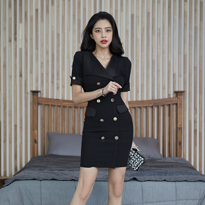 COIGARSAM Fashion Short Sleeve Women Dress Spring Turn-down Collar Dresses Black 3270