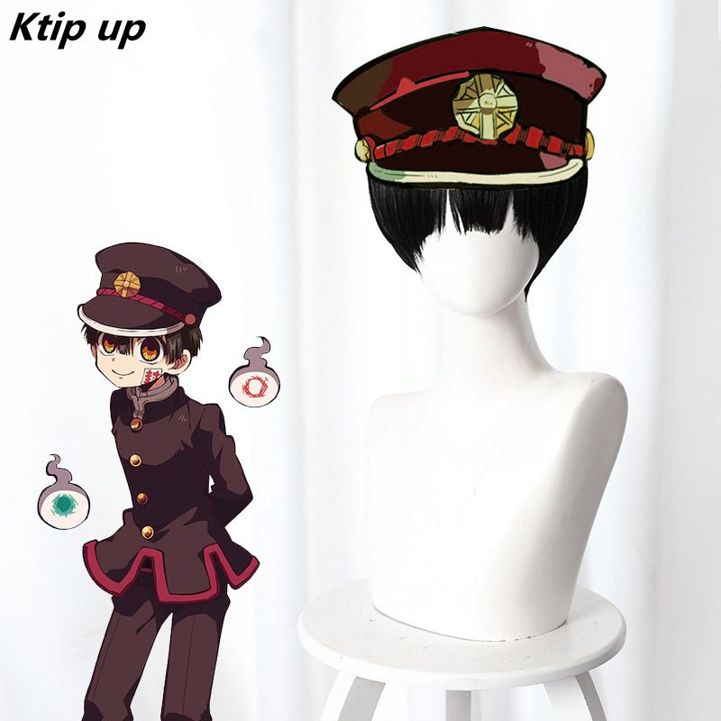 Ktip Up Anime Jibaku Shounen Hanako-kun Hanako Kun Cosplay Wig Black Short Synthetic Hair Costume Role Play Wigs Pelucas