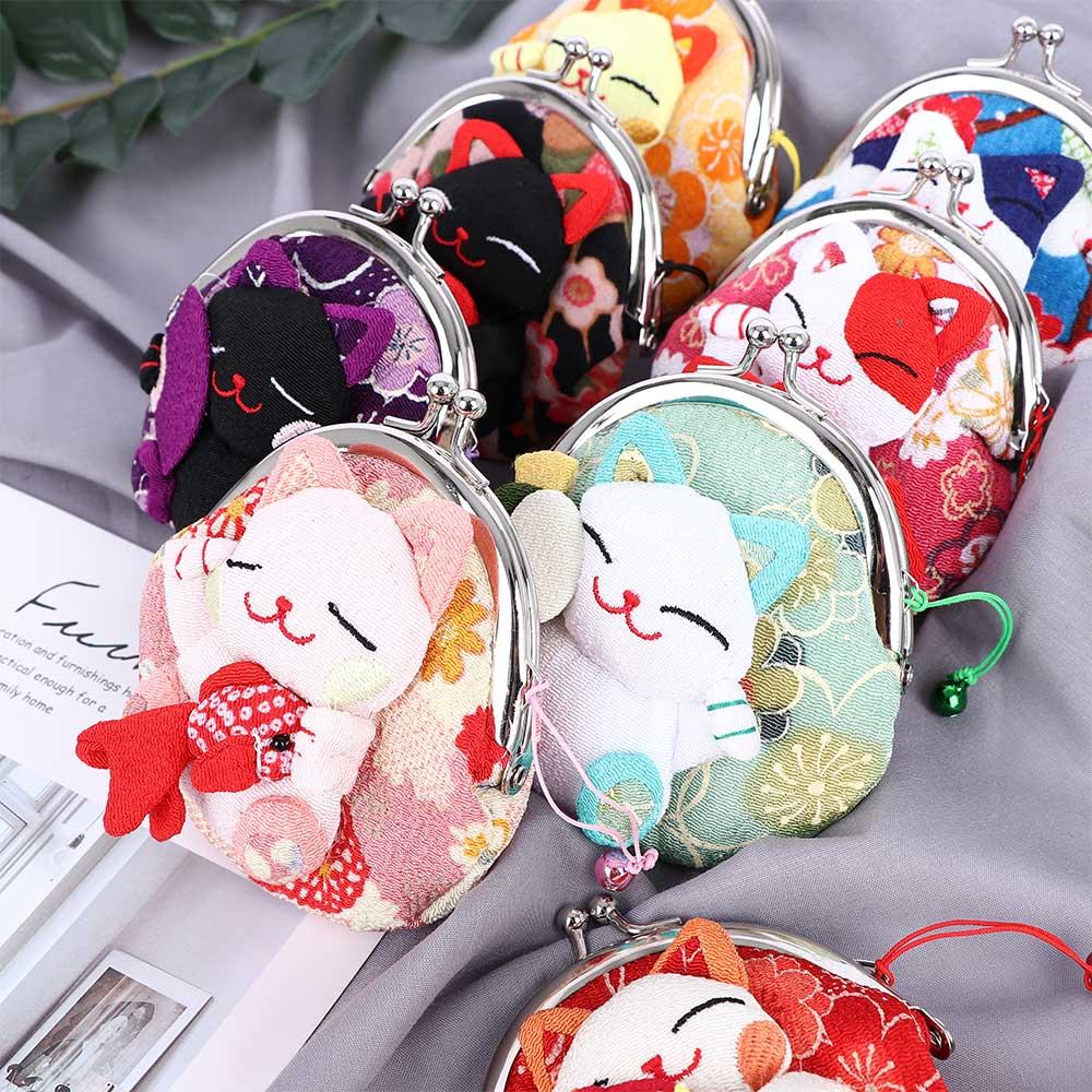 JS-63 Little owls R1 Japanese Kimono Fabric Small clutch  Coin purse