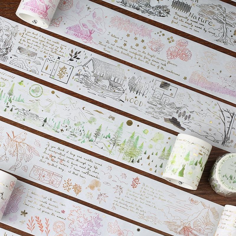 1 Roll Kawaii Washi Tape Plant Pattern Paper Masking Tape Diy Diary Journal Scrapbooking Stickers Ablum Decoration Washi