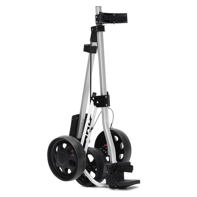 Golf Pull Cart Iron Black Adjustable Golf Trolley Cart 3 Wheels Push Pull Golf Cart Aluminium Alloy Foldable Manual Golf Trolley 4