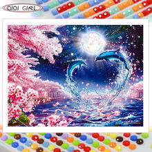 QIQI GIRL square diamond painting 5D cherry blossom dolphin romantic diamond art embroidery cartoon mosaic handmade home decorat