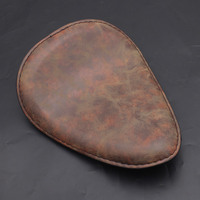 Motorcycle Brown PU Leather Old School Solo Saddle Seat Cafe Racer Seat Cushions for Harley Chopper Bobber Custom