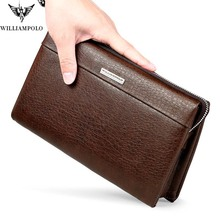 WILLIAMPOLO Brand Genuine Leather Business Clutch Bag Men Fashion Zipper Large Handbag Men Gift Husband Clutches Brown Black williampolo minimalist business men s clutch bag genuine leather flap handy wallet men clutches with cigarette case phone pocket