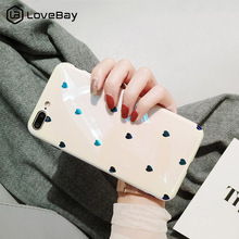 Lovebay Love Heart Blue Ray Phone Case For iphone XS Max XR X 6 6S 7 8 Plus Glossy Soft Silicone Fashion Chic Back Cover