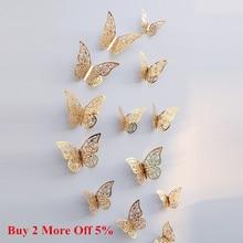 Новые 12 шт 3D Полые наклейки на стену бабочка на холодильник для домашнего декора Mariposas Decorativas Настенный декор Mariposas Decorativas