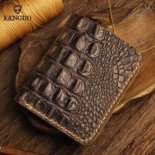 Portefeuille en cuir véritable pour hommes, fait à la main, court avec 6 emplacements pour cartes de crédit, sac d'argent