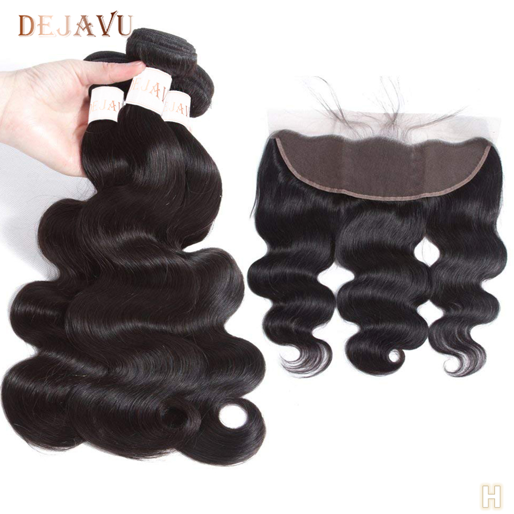 DEJAVU Body Wave Frontal With Bundles Peruvian Hair Bundles With Closure Non-Remy 8-28 Inch Bundles With Frontal Hair Extension