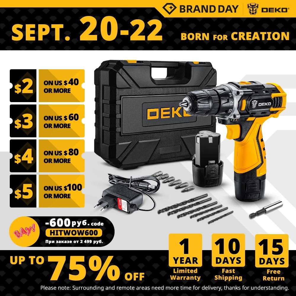 DEKO New DKCD12/16/20V Electric Screwdriver Mini Wireless Power Driver DC Lithium-Ion Battery Home DIY Keyless