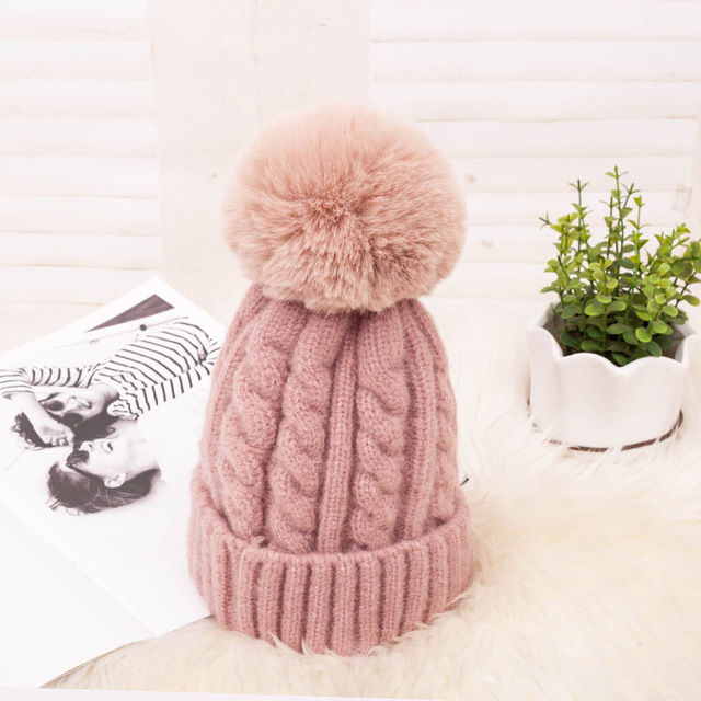 Fashion Warm Knitted Women's Hat Striped Winter Hats For Women Pink Fur Pompom Wool Beanies Thick Skullies Cap faux Pom pom Hat
